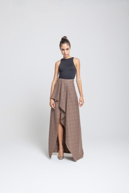 Wrap skirt - Brown pied de poule