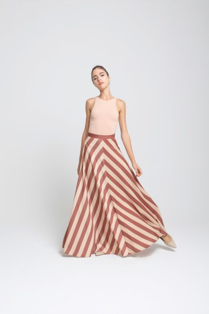 Wrap skirt – stripes print white cream/red brick