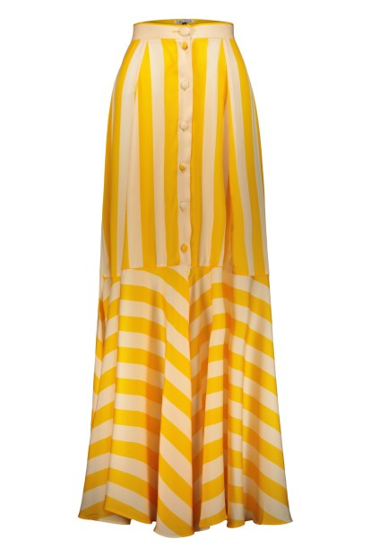 Poupine Button flared yellow striped skirt