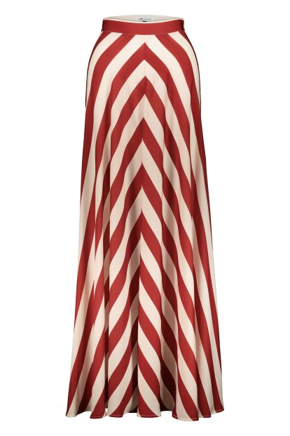 Poupine Flared bordeaux striped skirt