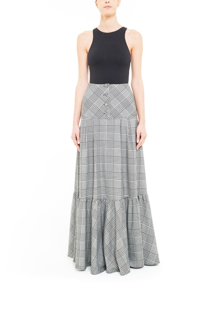 Glen check plaid pleated skirt with yoke at the waist