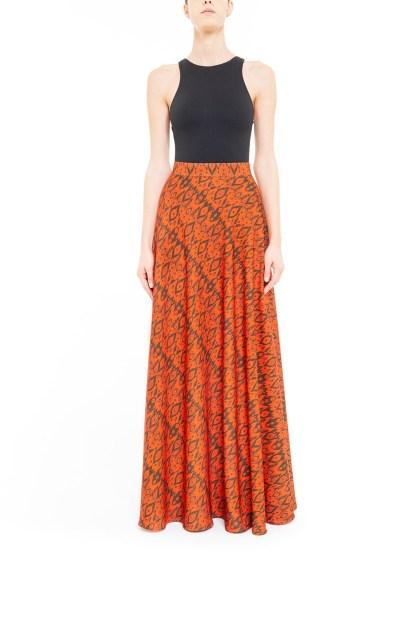 Orange and brown flared ikat skirt