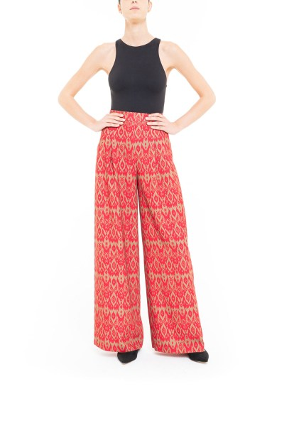Red and green ikat trousers