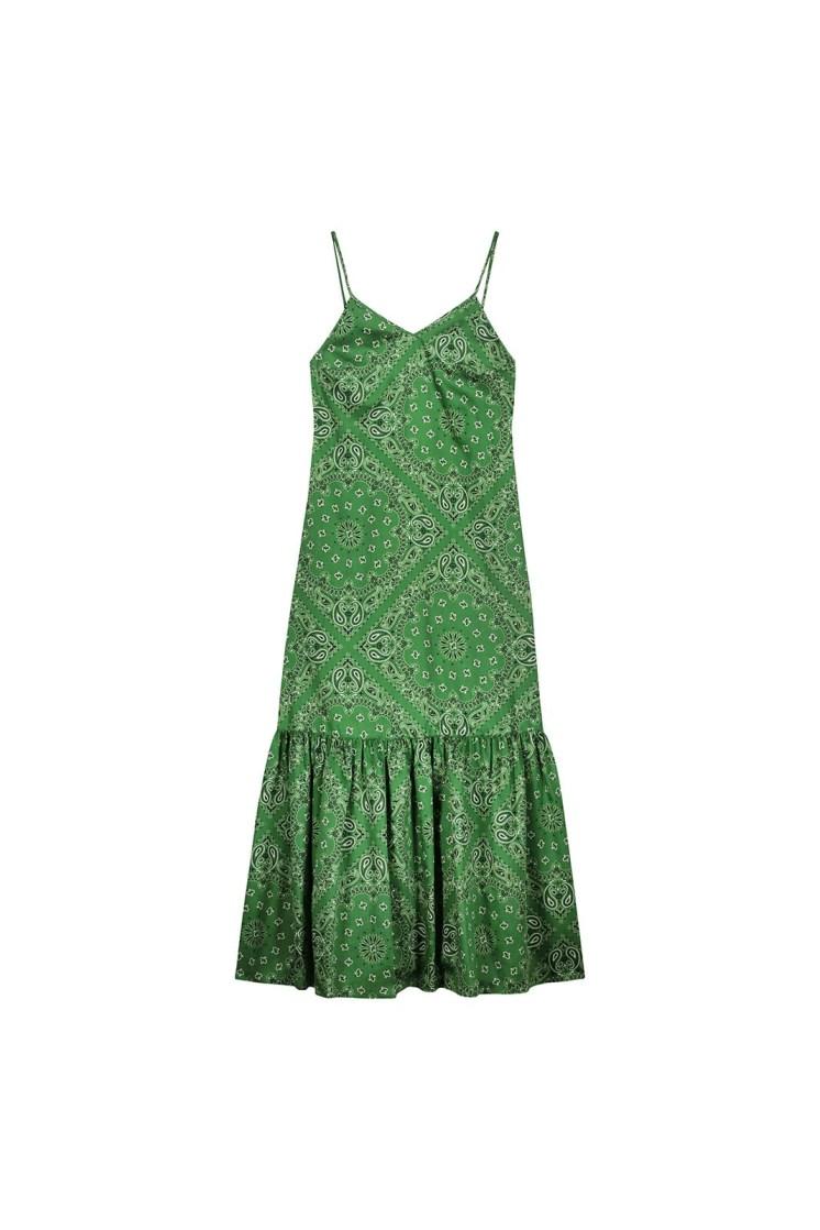 Abito a sottoveste con balza – bandana verde Poupine