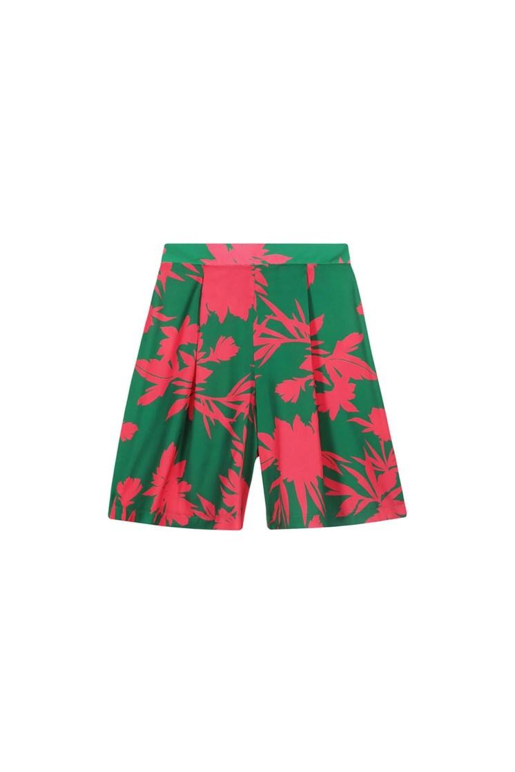 Bermuda a fiori verde e fucsia Poupine