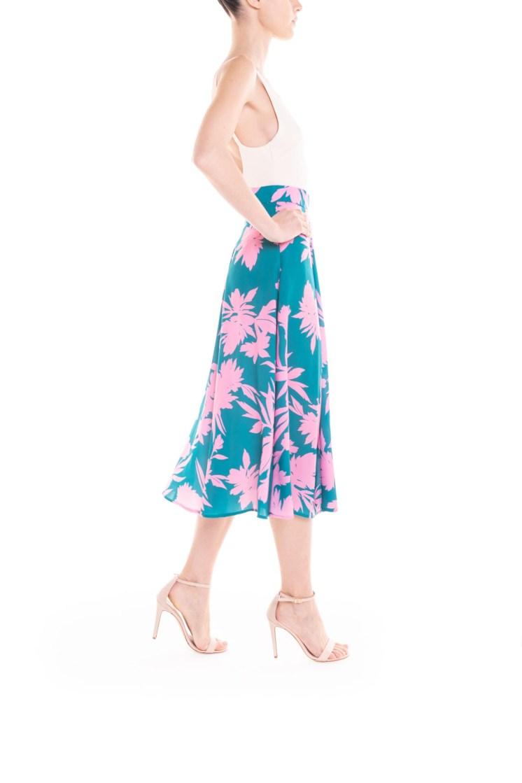Gonna longuette a fiori verde e rosa Poupine