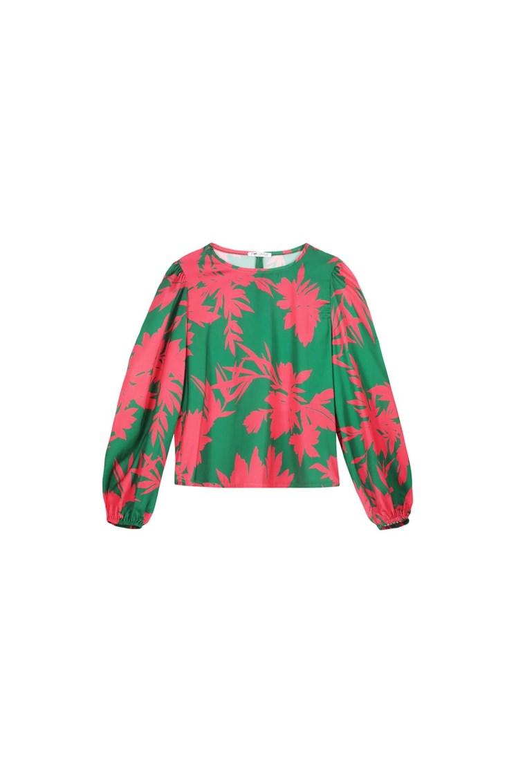 Top a fiori verde e fucsia Poupine