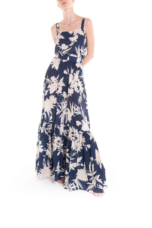 Vestito ampio a fiori con balza blu e panna Poupine
