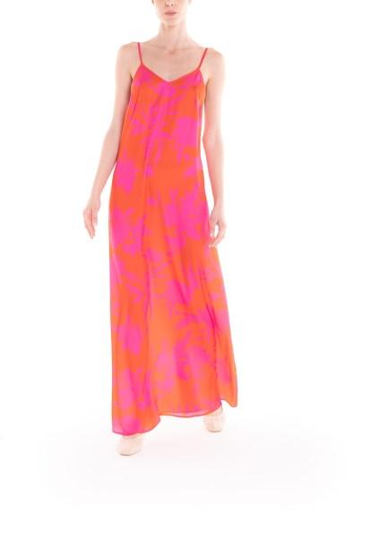 Vestito con bretelline a fiori arancio e fucsia Poupine