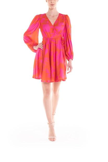 Vestito portafoglio corto a fiori arancio e fucsia Poupine