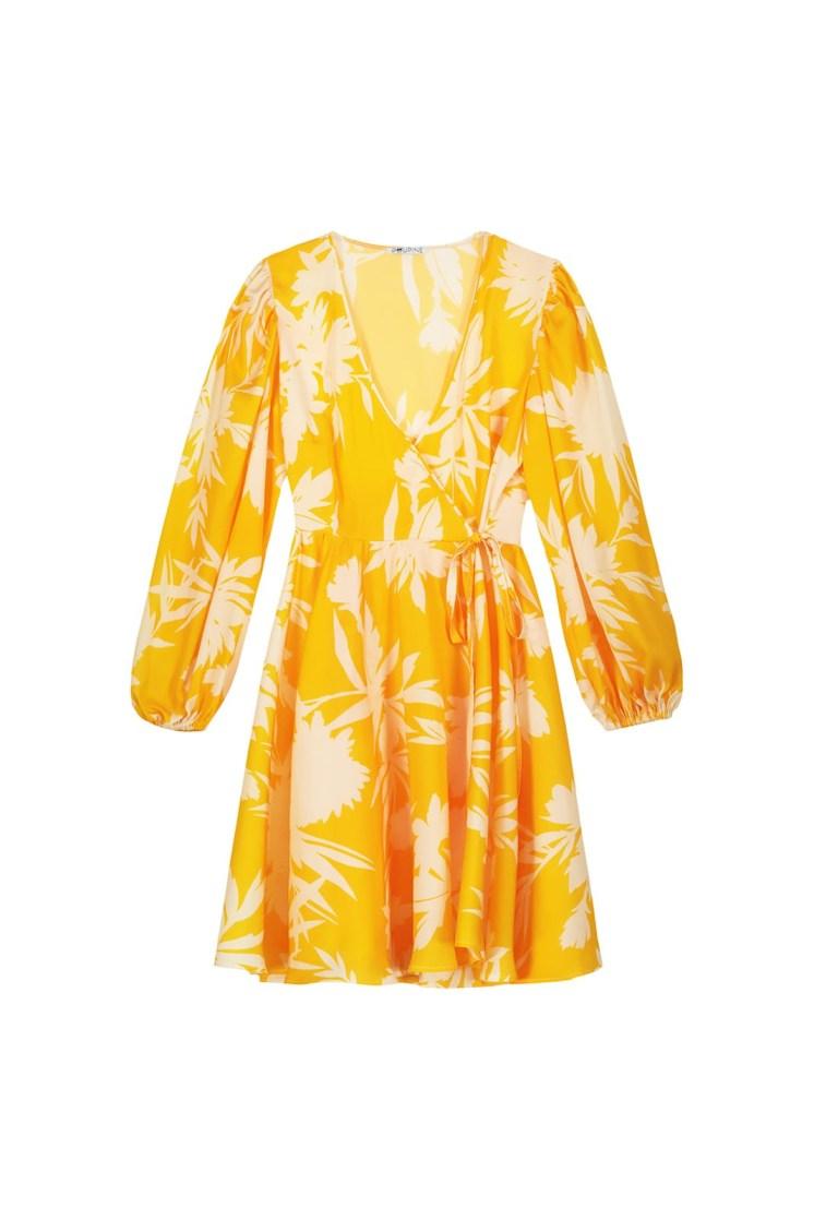 Vestito portafoglio corto a fiori giallo e panna Poupine