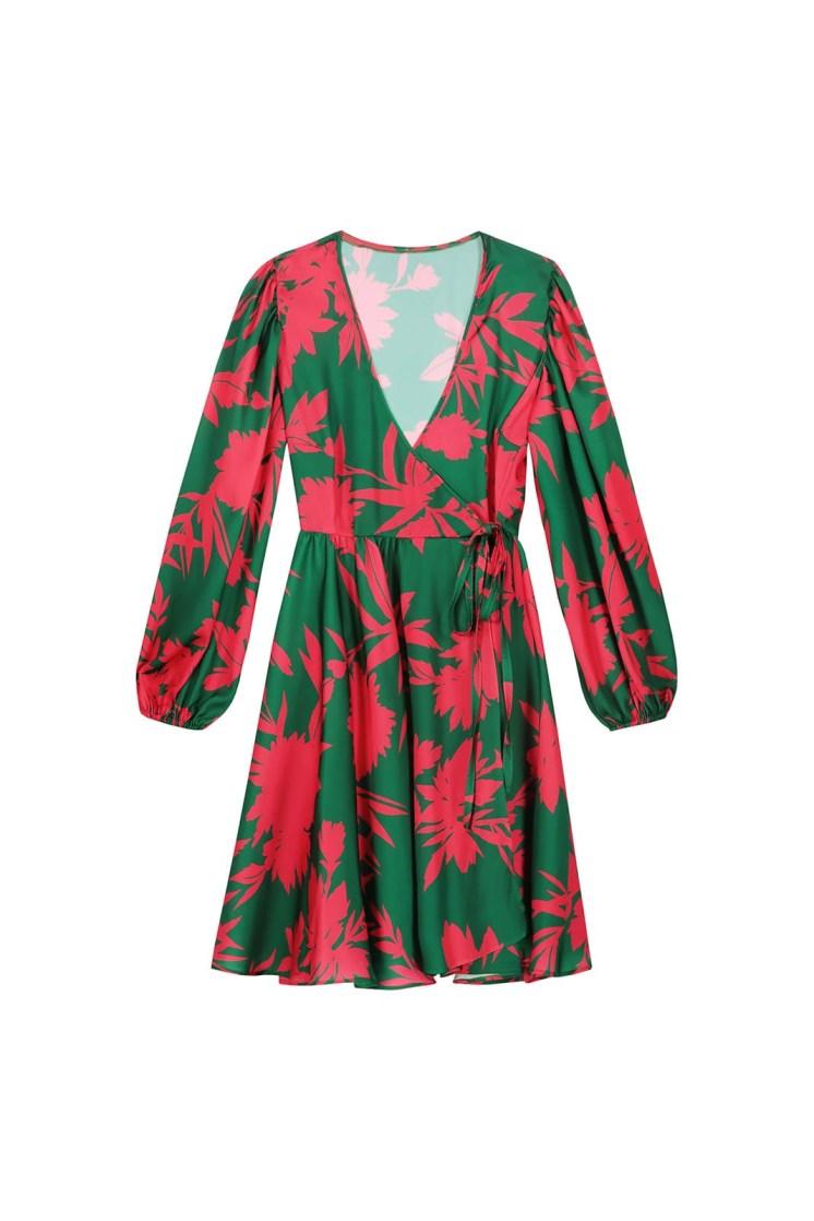 Vestito portafoglio corto a fiori verde e fucsia Poupine