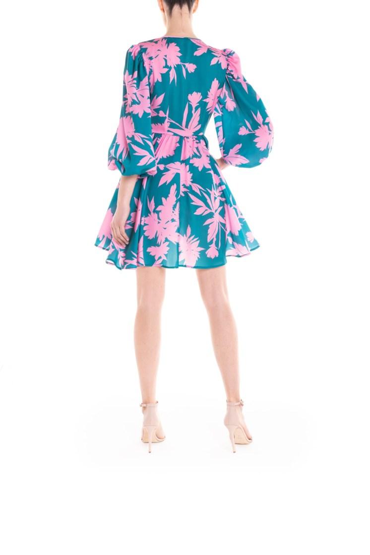 Vestito portafoglio corto a fiori verde e rosa Poupine