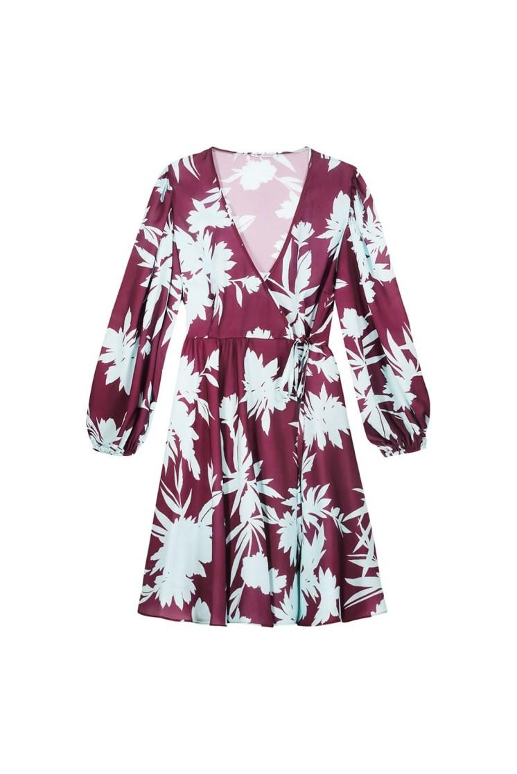Vestito portafoglio corto a fiori celeste e bordeaux Poupine