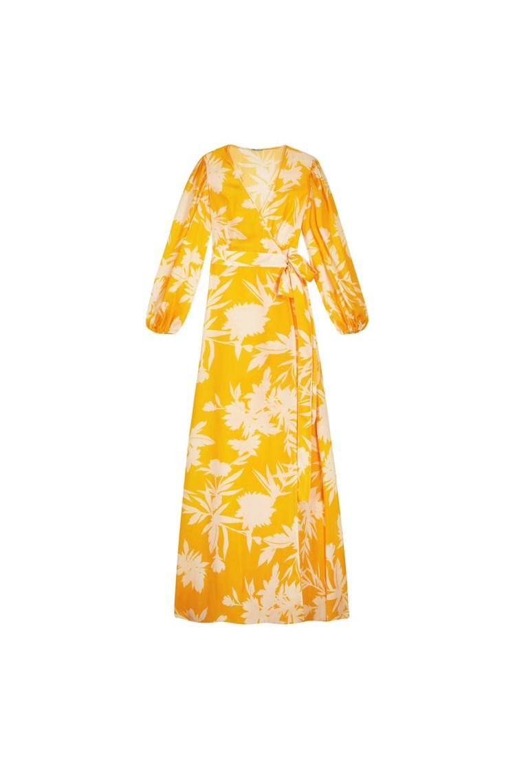 Vestito portafoglio lungo a fiori giallo e panna Poupine