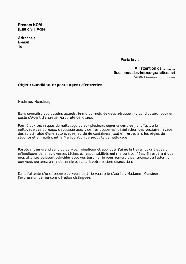 lettre de motivation agent d entretien debutant lettre de motivation agent dentretien