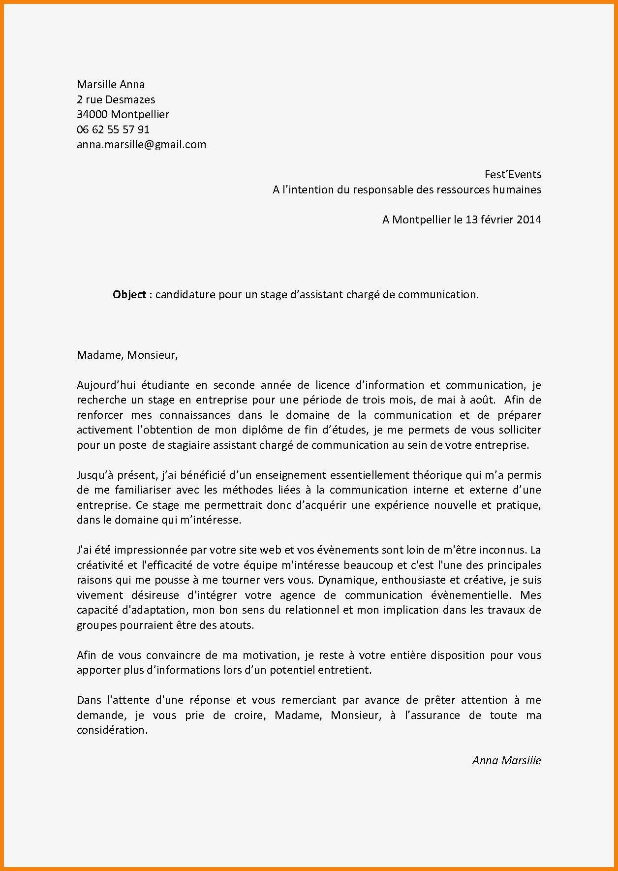 Lettre De Motivation Licence Chimie Lettre De Motivation Pour Un Stage