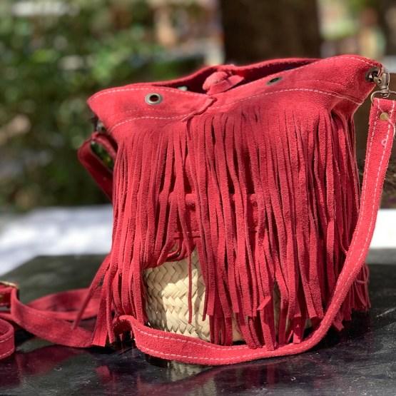 sac rond rouge franges
