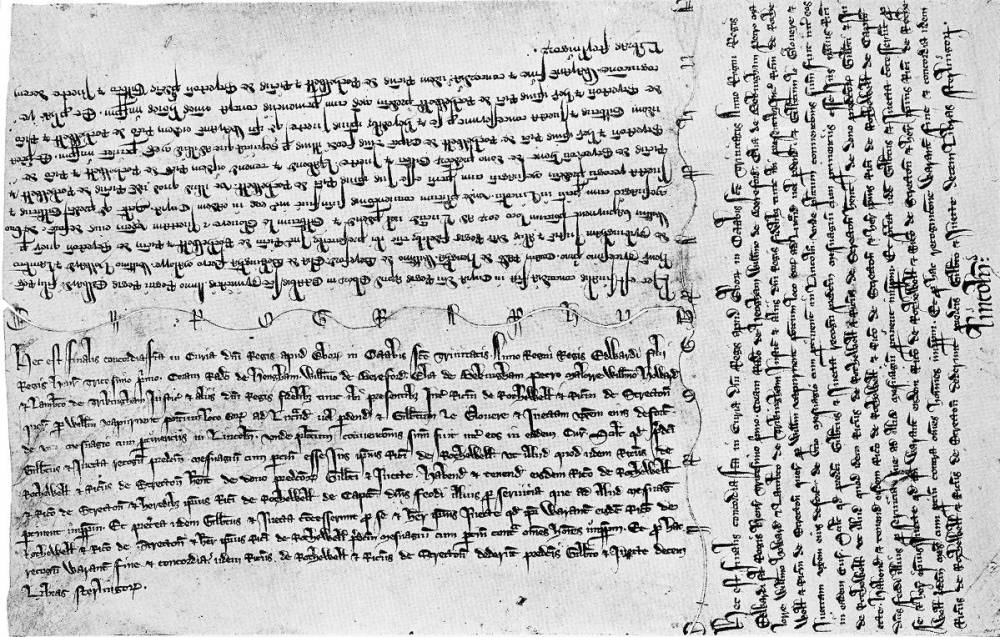 Un acte anglais de propriété avec trois chirographes datant de 1303. Les deux copies les plus grandes sont pour les contractant et la dernière est gardée par la cour qui a supervisée le processus. - Wikimedia