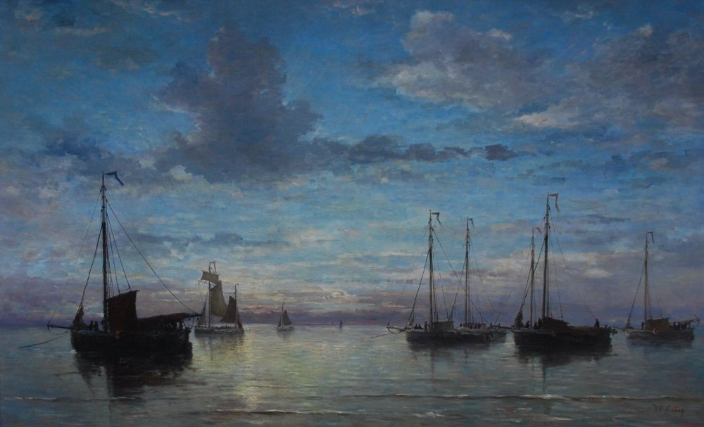 Hendrik Willem Mesdag, avondstond op zee, 1876, conservé au Teylers Museum, n°inventaire KS 113