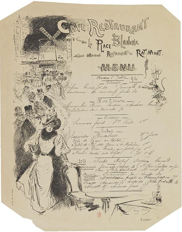 Menu, Café restaurant de la place Blanche, même maison Restaurant du rat mort - 1894 - Gallica/BNF