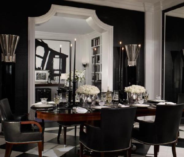 black-dining-room 25 Elegant Black And White Dining Room Designs