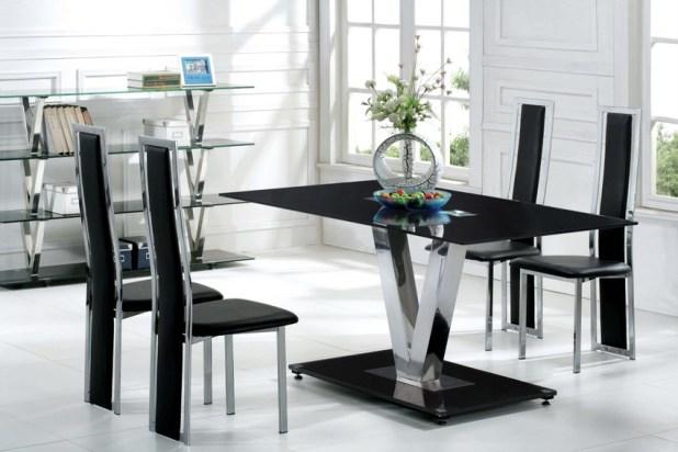 ultramodern-black-dining-room-furnishing 25 Elegant Black And White Dining Room Designs