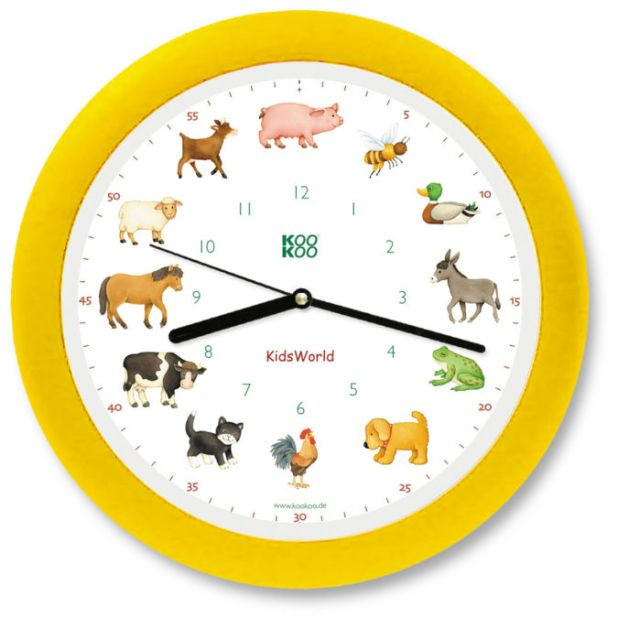 KidsWorld-KiW4000-gelb-frei 15 Amazing Wall Clocks Will Be Pieces Of Art In Your Home