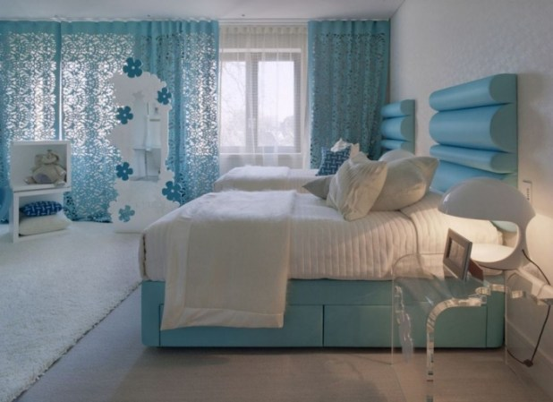blue-bedroom-color-and-white-rugs-design-in-modern-luxury-dreams-house-design-by-shh What Are the Latest Home Decor Trends?