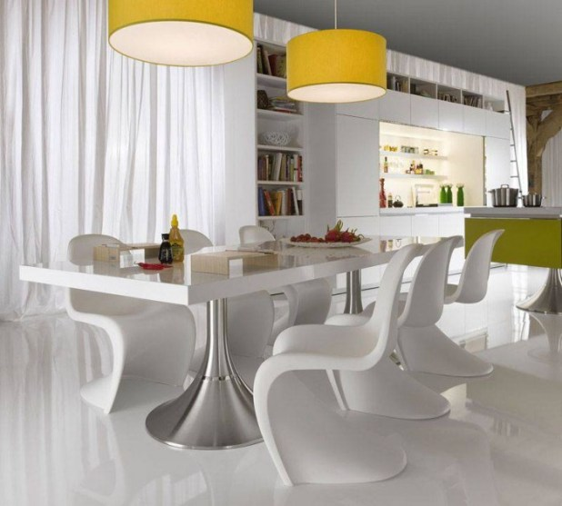 Light-White-Dining-Interior-Unique-Chairs-Contemporary-Dining-Room-Sets 45 Most Stylish and Contemporary Dining rooms