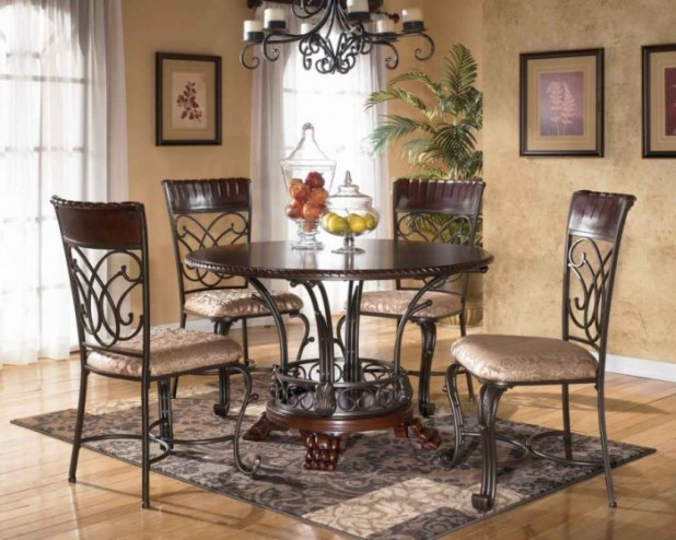 Luxury-Dining-Furniture-Round-Dining-Room-Set-Classic-Chandelier 45 Most Stylish and Contemporary Dining rooms