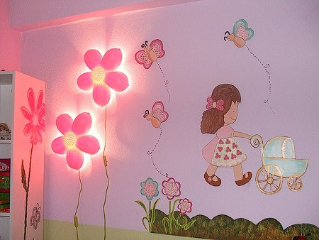 flower-lighting-kids-room-wall-decor-ideas Fantastic Designs Of Lighting And Lamps For Kids' Rooms