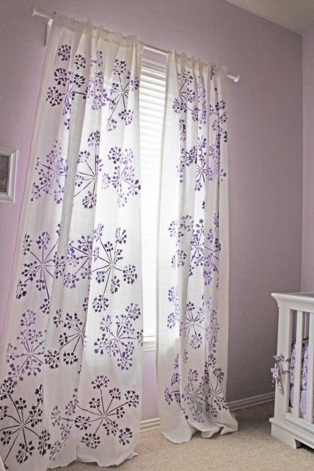 Stenciled-Curtains3 Easy And Creative Curtains Designs To DIY