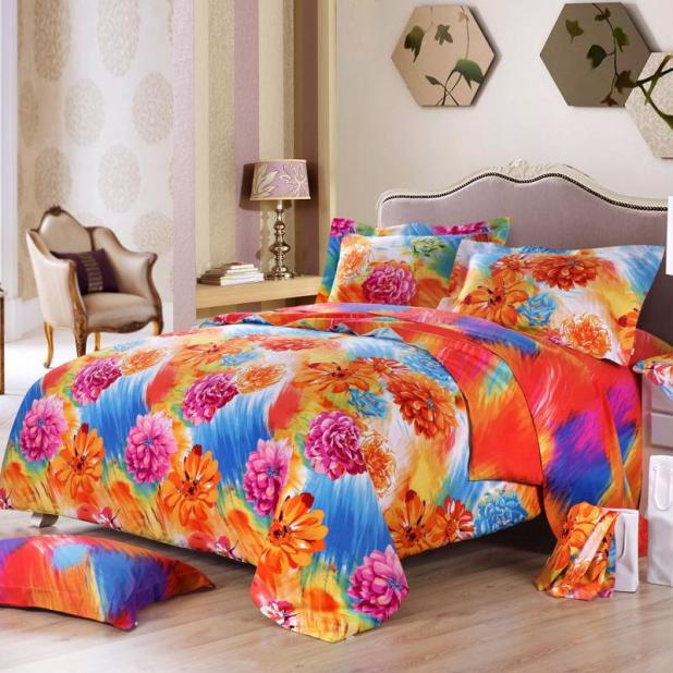 modern-teen-bedroom-orange-blue-hot-pink-bedding-sets-floral-print-pattern-style-comforter-pure-cotton-fabric-content-bright-floral-bedding-sets 5 Stylish Bedroom Designs For Your Comfort