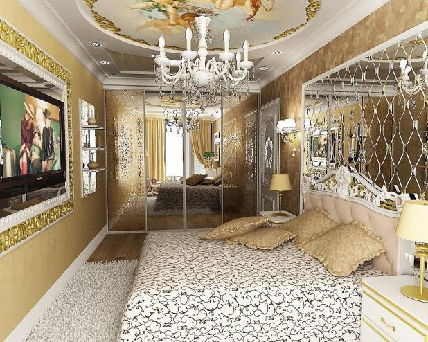 Glamour-classic-bedroom-design-in-white-and-gold-colors-with-wall-decorating-mirror-and-lovely-ceiling-decoration-with-chandelier 5 Stylish Bedroom Designs For Your Comfort