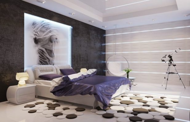 white-bedroom-teenager-bedroom-designs-texture-contemporary-purple-white-black-bedroom 5 Stylish Bedroom Designs For Your Comfort