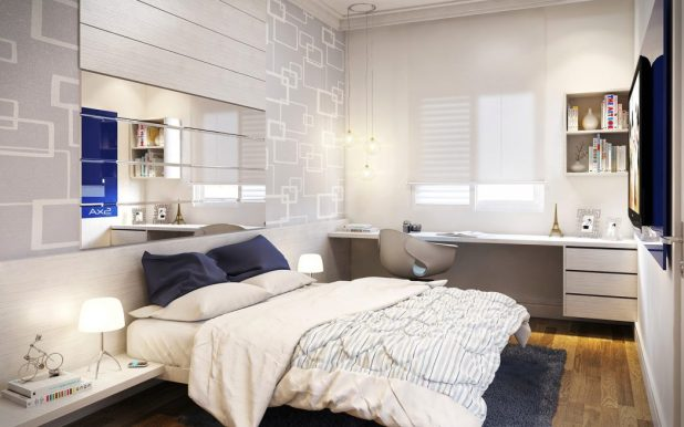 wonderful-small-bedroom-design-with-grey-patterned-wallpaper-and-rectangle-frameless-wall-mirror-above-white-painted-wooden-platform-bed-on-gray-rug 5 Stylish Bedroom Designs For Your Comfort