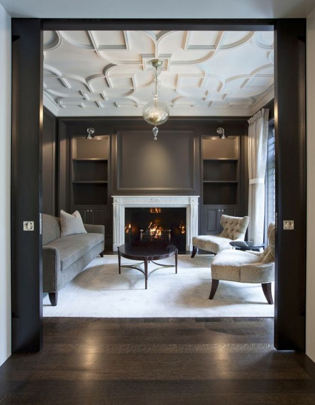 white-ceiling-and-dark-walls2-675x868 6 Designs of Suspended Ceiling Decors for 2017
