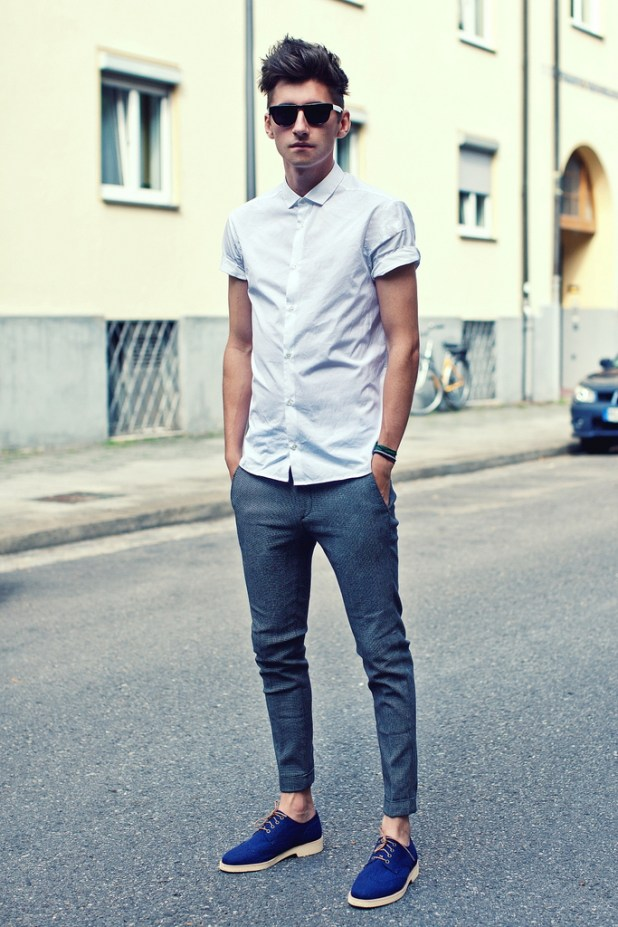 Skinny-jeans-with-a-classic-shirt3-675x1012 10 Most Stylish Outfits for Guys in Summer 2017
