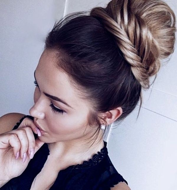 Messy and Sleek High Bun Hairstyle