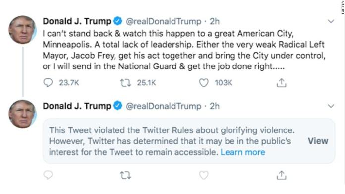 Trump glorifies violence on Twitter and doesn't get away with it
