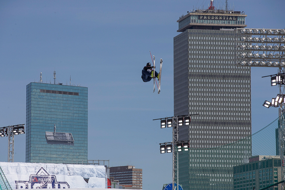 Spinning between the Prudential and Hancock towers, and driving truck above Boston's urban jungle. For two days 46 skiers from 14 nations used a 140-foot-tall drop-in ramp and 70-foot kicker to put on the biggest aerial show in Beantown since the friggin' 4th of July, kehd. PHOTO: Eric Dyer