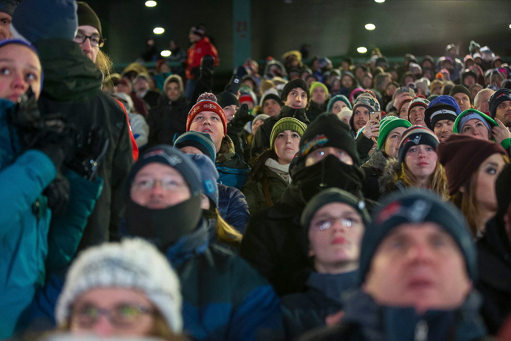 """Fenway Park, single digit temperatures, negative wind chills, an icy kicker, and a standing room rendition of """"Sweet Caroline""""—Ski The East is alive and well in Titletown U.S.A. PHOTO: Eric Dyer"""