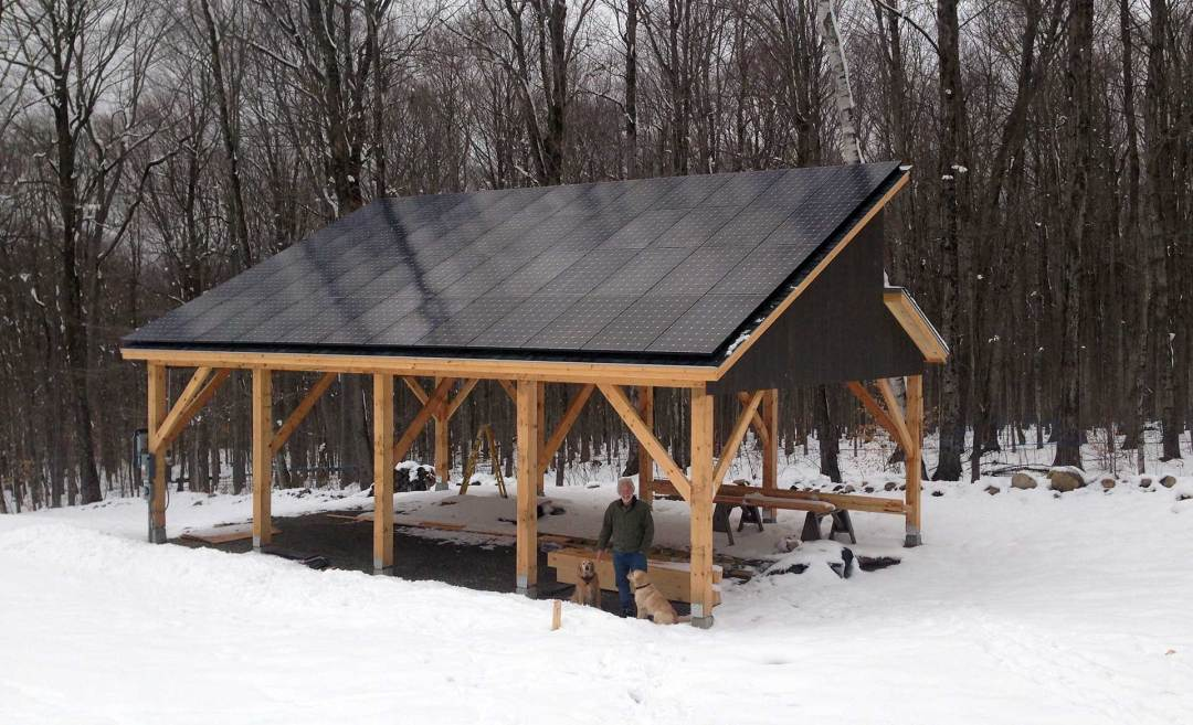 Shed with solar panels