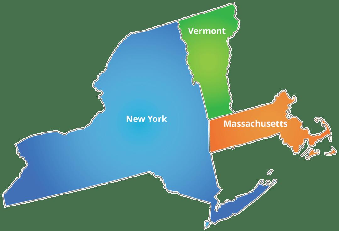 Massachusetts, New York, Vermont