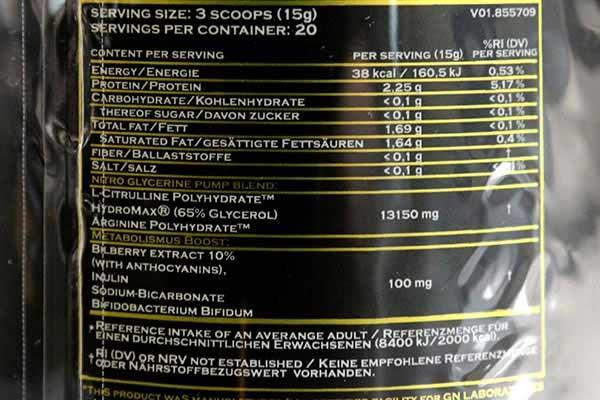 GN Laboratories - Narcotica Nitro Glycerine Inhaltsstoffe