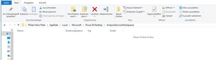 File Explorer before opening the Power BI file