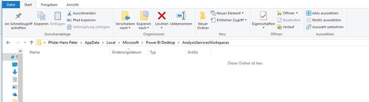 Datei Explorer vor Öffnen der Power BI Datei
