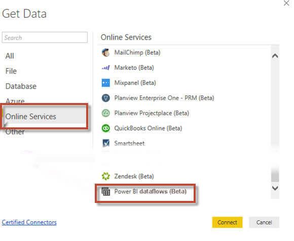 Get Data from Dataflows
