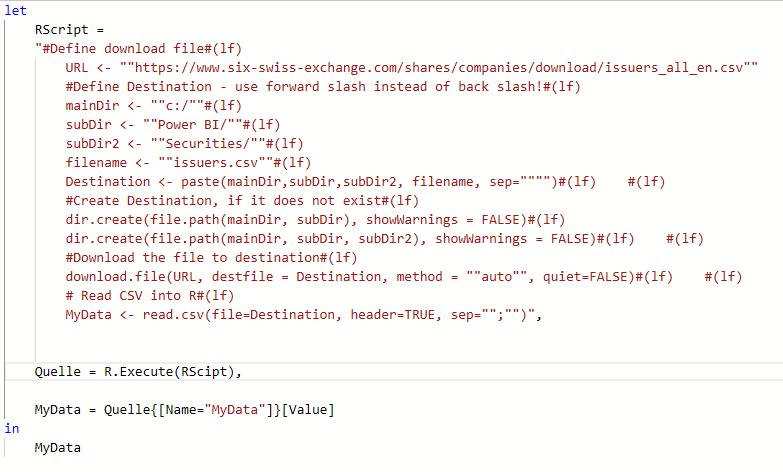 M Code mit ausgelagertem R-Skript